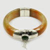 388.77 Ct. Natural Gemstone Brown Honey Jade Bangle with Silver Size80x61x18Mm.