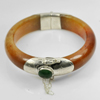 340.88 Ct. Size88x61x15Mm. Natural Gem Green Brown Honey Jade Bangle with Silver