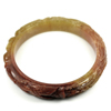 222.81 Ct. Natural Gem Honey Brown Jade Bangle Dragon Carving Size 80x65x13mm.