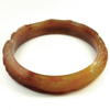233.91 Ct. Natural Gem Honey Brown Jade Bangle Dragon Carving Size 80x65x13mm.