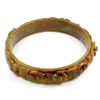 188.59 Ct. Natural Gem Honey Brown Jade Bangle Flower Carving Size 75x64x14mm.