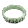 239.31 Ct. Size 75x60x14mm. Natural Gem Green Color Jade Bangle Flower Carving