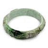 251.24 Ct. Size 75x60x15mm. Natural Gem White Green Jade Bangle Dragon Carving