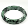 Unheated 390.56 Ct. Natural Gemstone Green Black Jade Bangle Size 80x65x15 Mm.