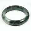 Unheated 353.06 Ct. Natural Gemstone Green Black Jade Bangle Size 78x60x15 Mm.