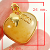 30.61 Ct. Natural Gemstone Yellow Color Jade Heart Nickel Pendant 26x20Mm.