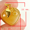 30.13 Ct. Natural Gemstone Yellow Honey Jade Heart Nickel Pendant 25x20Mm.