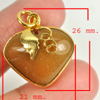 31.40 Ct. Natural Gemstone Brown Honey Jade Heart Nickel Pendant 26x21Mm.