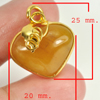 27.16 Ct. Natural Gemstone Brown Honey Jade Heart Nickel Pendant 25x20Mm.