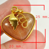 31.56 Ct. Natural Gemstone Brown Honey Jade Heart Nickel Pendant 25x20Mm.