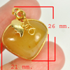 32.90 Ct. Natural Gemstone Yellow Honey Jade Heart Nickel Pendant 26x21Mm.