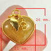30.21 Ct. Natural Gemstone Brown Honey Jade Heart Nickel Pendant 26x21Mm.