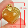 30.56 Ct. Natural Gemstone Brown Honey Jade Heart Nickel Pendant 26x21Mm.