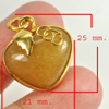 29.68 Ct. Natural Gemstone Brown Honey Jade Heart Nickel Pendant 25x21Mm.