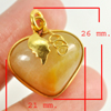 36.56 Ct. Natural Gemstone Brown Honey Jade Heart Nickel Pendant 26x21Mm.
