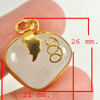 32.70 Ct. Natural Gemstone Multi-Color Jade Heart Nickel Pendant 26x21Mm.