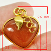 35.02 Ct. Natural Gemstone Brown Honey Jade Heart Nickel Pendant 26x21Mm.