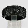 Unheated 24.40 Ct. Natural Gemstone Black Jade Dargon Carving Ring Size8.5