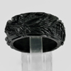 Unheated 32.05 Ct. Natural Gemstone Black Jade Dargon Carving Ring Size10
