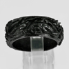 Unheated 22.45 Ct. Natural Gemstone Black Jade Dargon Carving Ring Size10