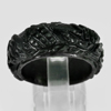 Unheated 22.60 Ct. Natural Gemstone Black Jade Dargon Carving Ring Size9