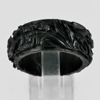 Unheated 26.27 Ct. Natural Gemstone Black Jade Dargon Carving Ring Size10