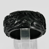 Unheated 31.00 Ct. Natural Gemstone Black Jade Dargon Carving Ring Size8.5
