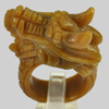 99.98 Ct. 43x19Mm. Natural Gemstone Brown Honey Jade Dragon Carving Ring Size10