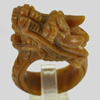 Unheated 77.93 Ct. Natural Gemstone Brown Honey Jade Dragon Carving Ring Size10