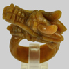 Unheated 76.79 Ct. Natural Gemstone Brown Honey Jade Dragon Carving Ring Size8