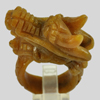 Unheated 78.97 Ct. Natural Gemstone Brown Honey Jade Dragon Carving Ring Size8
