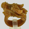 68.33 Ct. Natural Gemstone Brown Honey Jade Dragon Carving Ring Size10