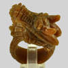 80.00 Ct. 41x19 Mm. Natural Gemstone Brown Honey Jade Dragon Carving Ring Size8