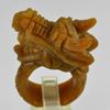 Unheated 73.11 Ct. Natural Gemstone Brown Honey Jade Dragon Carving Ring Size8