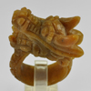 84.25 Ct. 43x18Mm. Natural Gemstone Brown Honey Jade Dragon Carving Ring Size8