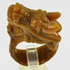 Unheated 86.47 Ct. Natural Gemstone Brown Honey Jade Dragon Carving Ring Size10