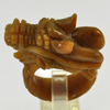 81.74 Ct. 41x20Mm. Natural Gemstone Brown Honey Jade Dragon Carving Ring Size10