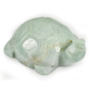 Unheated 256.33 Ct. Natural Gemstone Green White Jade Turtle Carving 47x35Mm.