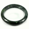 Green Black Jade Bangle Size 88x69x13 Mm. 413.93 Ct. Natural Gemstone Unheated