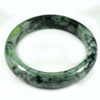Green Black Jade Bangle Size 89x69x15 Mm. 480.97 Ct. Natural Gemstone Unheated