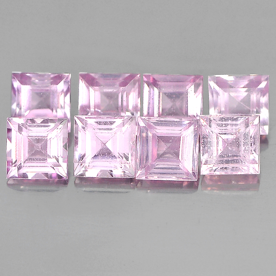 1.94 Ct. 8 Pcs. Square Shape 3 Mm. Natural Gems Pink Sapphire From Madagascar
