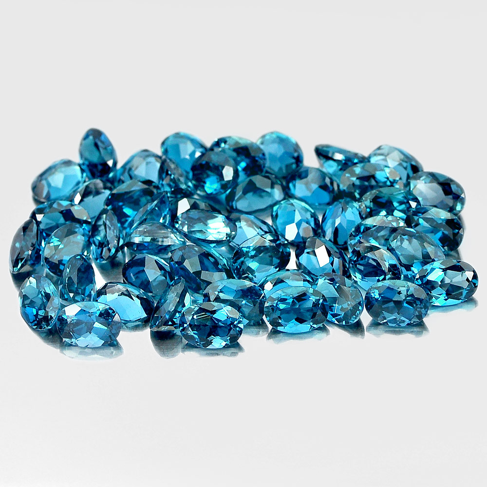 1 Pc. / $10.00 Oval Shape 7x5 Mm.Natural Gemstones London Blue Topaz From Brazil