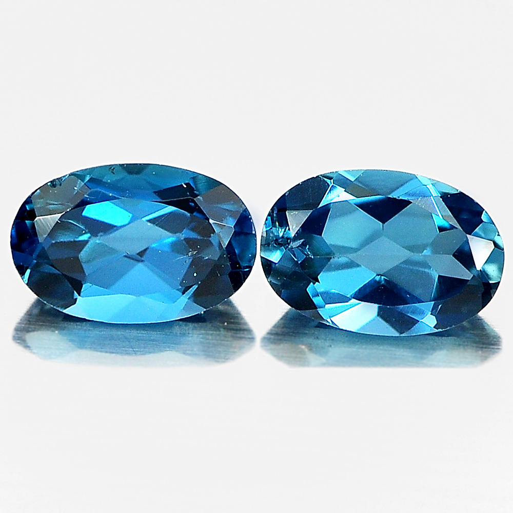 1.07 Ct. 2 Pcs. Oval Shape Natural Gemstones London Blue Topaz From Brazil