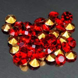 54 Pcs. Splendid Diamond Cut Red CRYSTAL Grade AAA