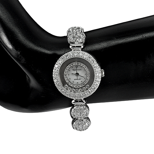 42.06 G. Round White CZ Real 925 Sterling Silver Beautiful Watch 7.5 Inch.