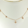 2.90 G. 925 Sterling Silver Rose Gold Flower Jewelry Necklace Length 16 Inch.